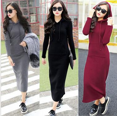 Mulheres-de-inverno-de-lã-com-capuz-moletom-com-capuz-fino-Maxi-vestido